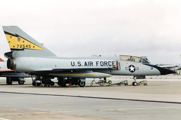 F-106B 57-2545, in the 5 FIS colors as I flew her from Minot AFB, ND on 6 Dec 1984. Photo by Gerhard Plomitzer.