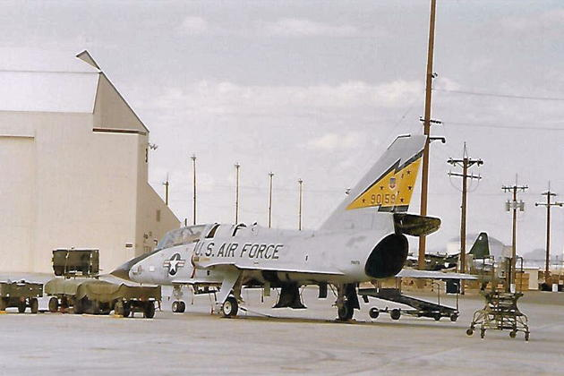 F-106B 59-0159 during engine removal and maintenance.
