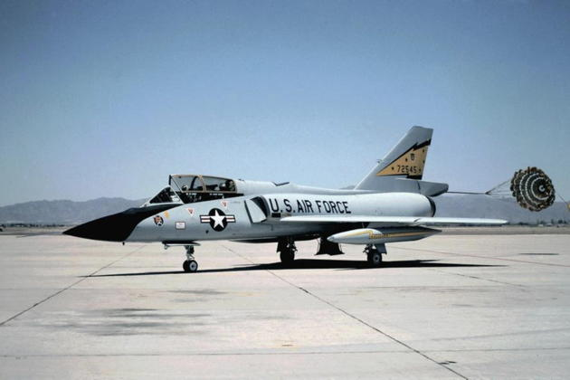 F-106B 57-2545 visiting Luke AFB, AZ with its drag chute still deployed. Photo by an F-16 crew chief.