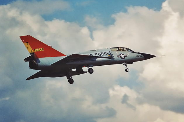 F-106B 57-2545 in drone colors, assigned to Tyndall's 82nd Aerial Target Squadron, on final to Dobbins ARB, GA during Hurricane Erin evacuation in August 1995.
