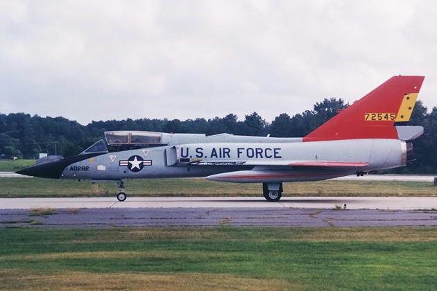 F-106B 57-2545 in drone colors, assigned to Tyndall's 82nd Aerial Target Squadron, passing through Dobbins ARB, GA during Hurricane Erin evacuation in August 1995.