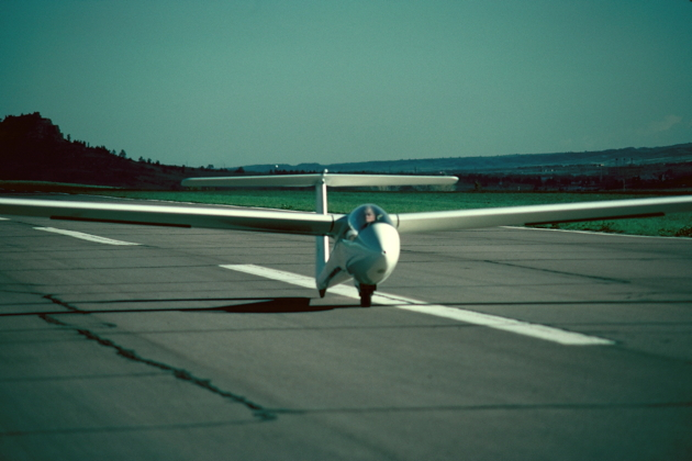 Landing in the USAF Academy's Phoebus-C after my first flight in May 1976.