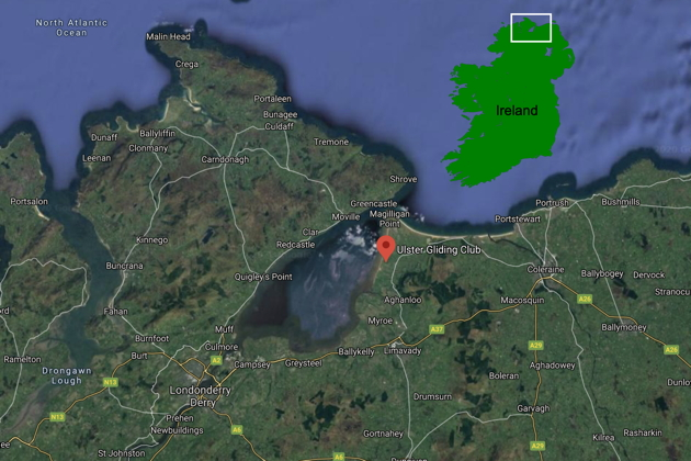 A map of the Ulster Gliding Club's Bellarena airport location in northern Ireland. Main map courtesy of Google Maps.