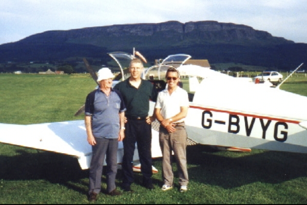 With Tom McFarland, Ron Lapsley and the Robin towplane of the Ulster Gliding Club.