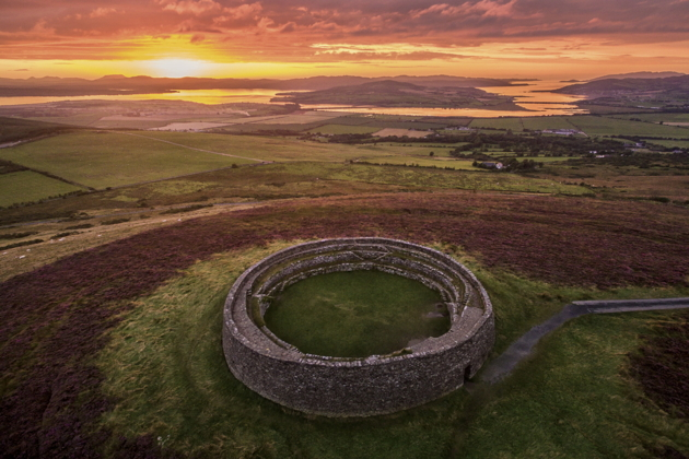 A beautiful sunset view of the Grianan of Aileach, which we flew over in the Robin towplane. Photo by Gareth Wray.