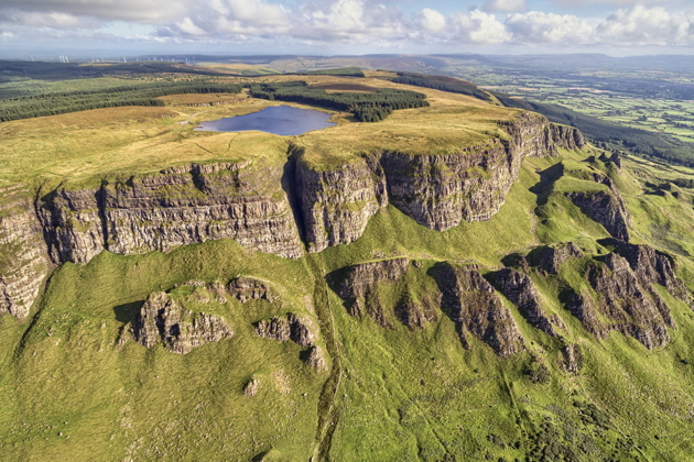 The stupendous Binevenagh ridge just east of Bellarena, with a small lake on top. Photo by Gareth Wray.