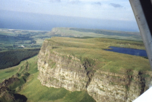 The Ulster Gliding Club's home terrain in Northern Ireland, and Binevenagh ridge from the cockpit of the Capstan.