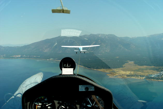 DG-1000 on tow over southern Lake Tahoe.