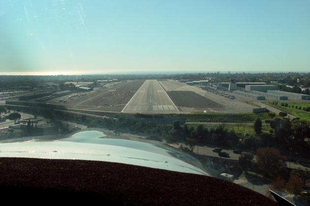 On final to Runway 21 at the Santa Monica airport in the Swift.