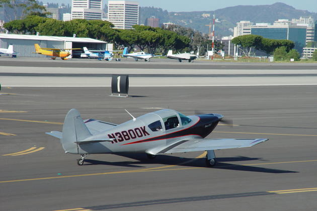 Jim Cummiskey taxiing for departure at the Santa Monica airport.
