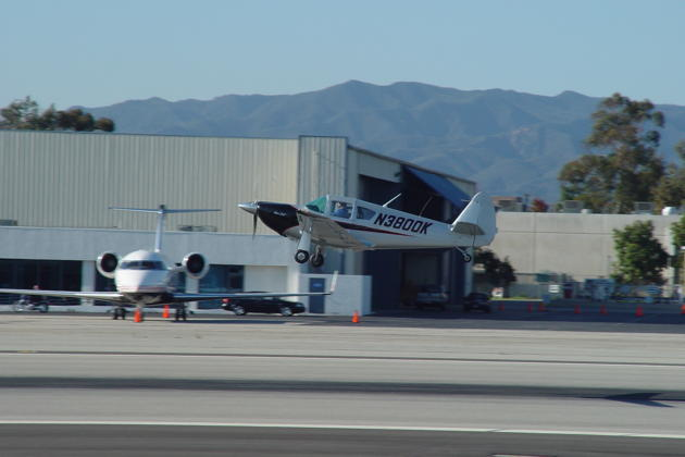 Jim Cummiskey departing in his Swift from the Santa Monica airport.
