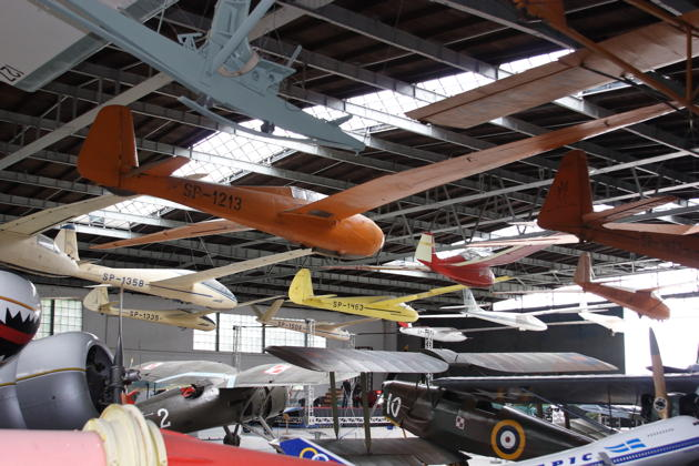 An amazing array of classic sailplanes at the Polish Aviation Museum in Krakow, Poland.