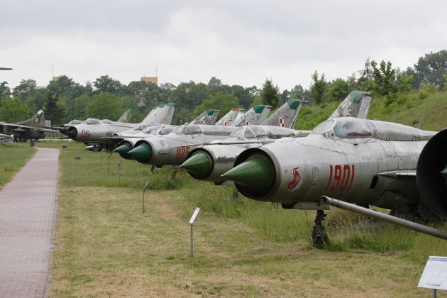 A long lineup of MiG-21s and Sukhois at the Polish Aviation Museum in Krakow, Poland.