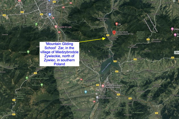 A terrain view of Mountain Gliding School Zar, in southern Poland. Image courtesy Google Maps.