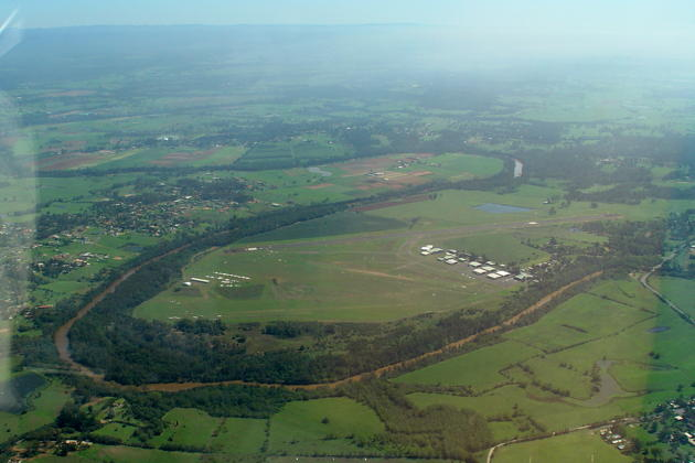 Camden airfield, about 60km SW of Sydney, Australia, home of Southern Cross Gliding Club. Nice and green after recent rains.
