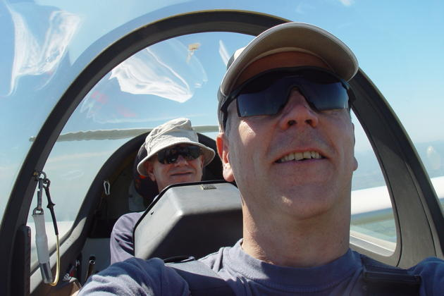 Enjoying the Southern Cross Gliding Club's DG-1000 with Dean Ward.