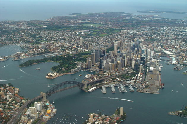 A nice view from United's 747 upper deck of downtown Sydney, the Harbor Bridge and the Opera House.