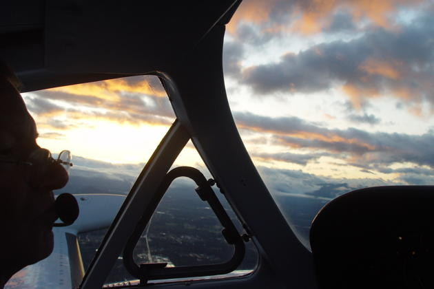 Climbing out from Auburn, WA at sunrise in Doug Happe's Cessna 340.