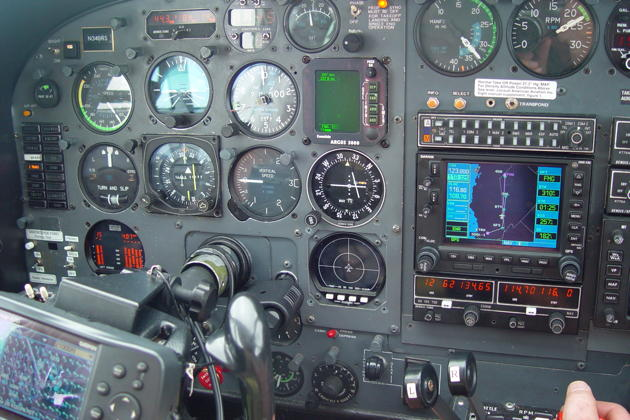 A Cessna 340 cockpit view at Flight Level 200 coming up to Blythe, NV.