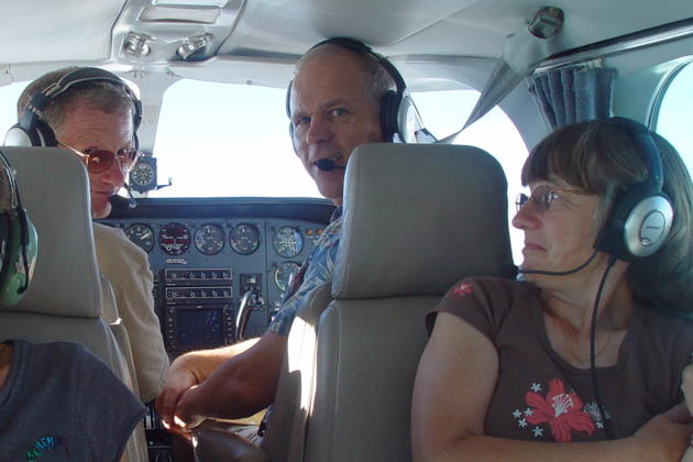Doug, me and Ma cruising in the Cessna 340. Photo by Michael.