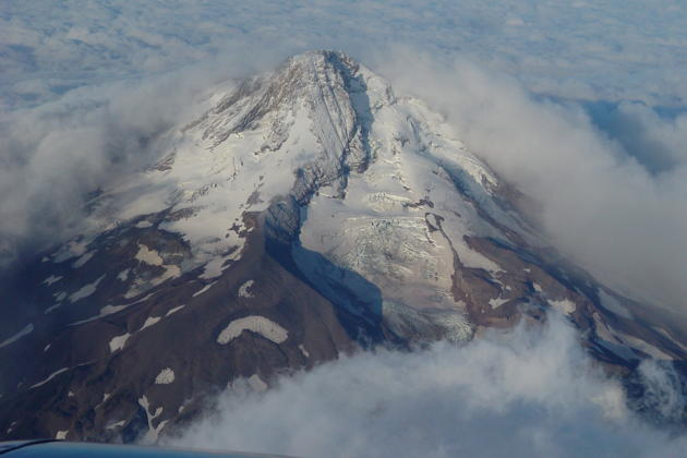 The northeast face of Mt. Hood, with the prominent Eliot Glacier, as we climbed into Oregon skies.