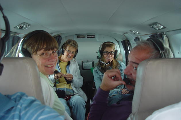 Our 'first class' cabin, with Ma, Ann, Diana and Michael in Doug's Cessna 340.