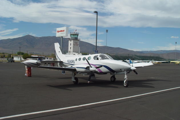 Our Cessna 340 in front of Reno Stead's control tower, normally only manned for the Reno air races.