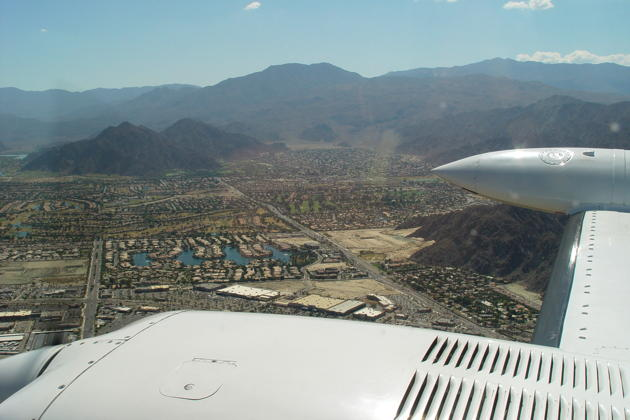 Descending in the Cessna 340 over Palm Springs enroute to the Thermal, CA airport.