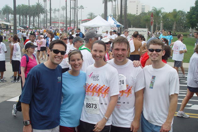 David, Katie, our Katie, our David, and Jason after their 5K fun run in Newport Beach, CA.