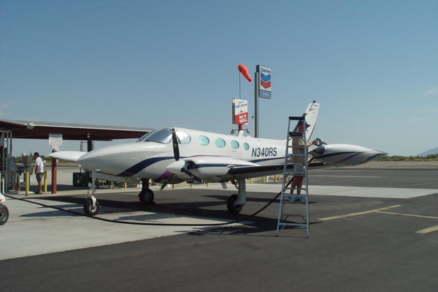 Refueling the Cessna 340 in 108-degree heat at the Thermal, CA airport.
