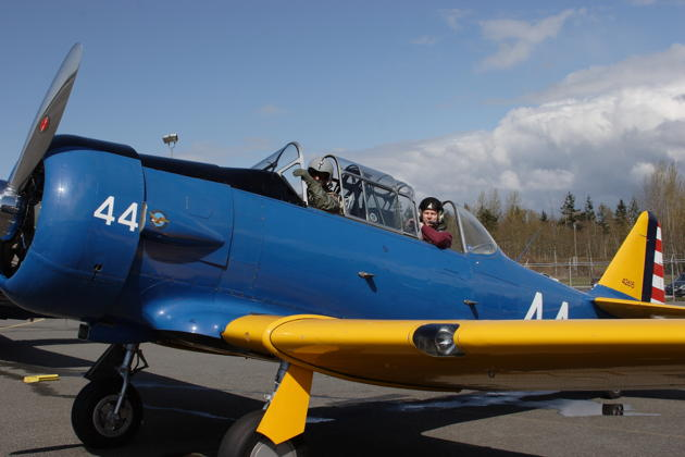 Ready to launch with Alan Anders in his AT-6F for a T-6 three-ship over Bellingham.