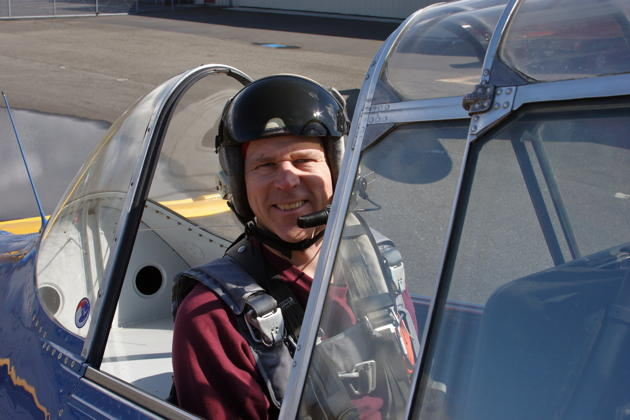 Ready for flight in Alan Anders' T-6 in Bellingham. Photo by Alan Anders.