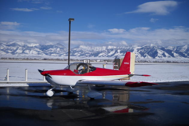 A great winter photo of the RV-12 during its Bozeman, Montana stopover enroute to the great Northwest. Photo by Dan Masys.