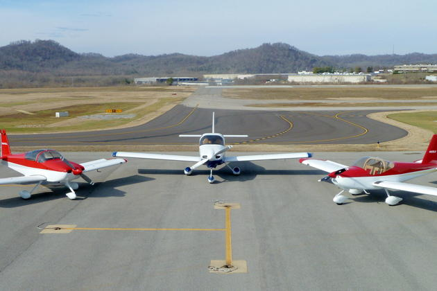 The Masys RV family - the RV-7A (subsequently sold), RV-10, and RV-12. Photo courtesy Dan Masys.