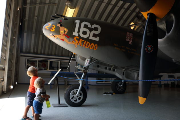 Alex and Nathaniel taking in the awesome P-38 Lightning at Chino.