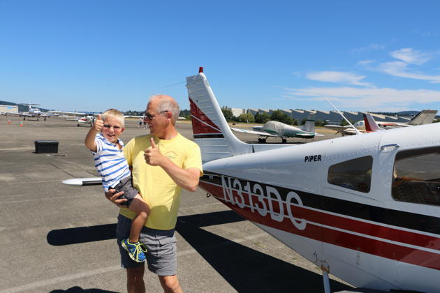 Alex with a strong thumbs up after his third flight in Piper Warrior 'Three-Delta-Charlie'. Photo by David Kasprzyk.