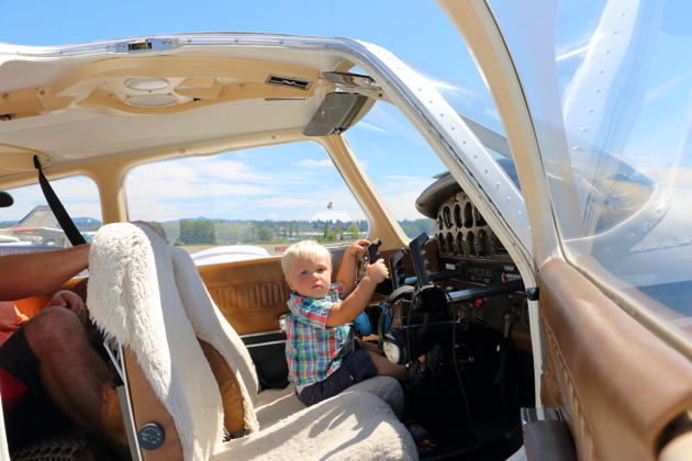 Nathaniel Patrick is ready at the controls for his first flight in our Piper Warrior! 'Yes, I own this airplane!'