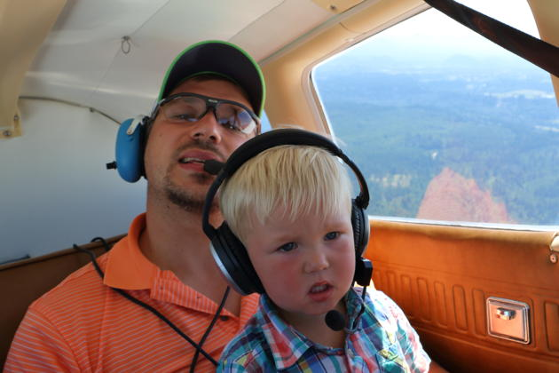 Nathaniel aloft with David on his first flight in 3DC!