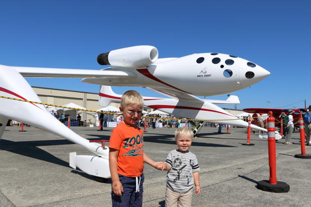 Alex and Nathaniel in front of the White Knight launch aircraft at the Everett, WA Flying Heritage Collection.