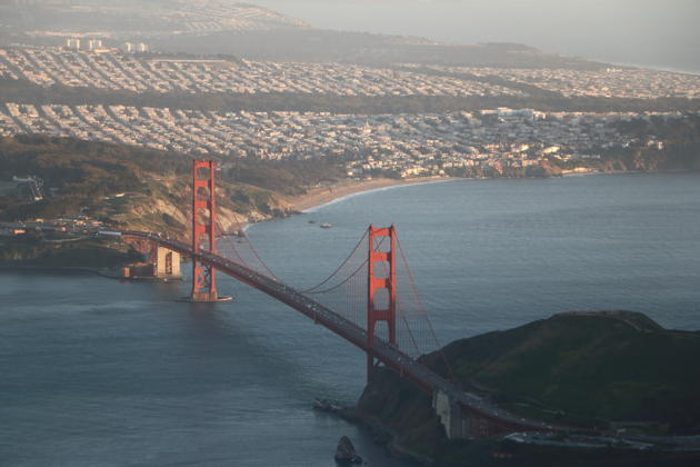 A nice view of Golden Gate Bridge from the Cirrus on our San Francisco Bay flying tour.