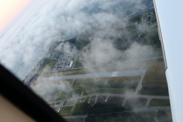 Half Moon Bay airport in the mists as we circle to land in the Cirrus.