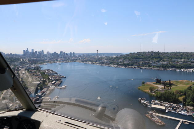 Setting up for final approach to Seattle's Lake Union in Kenmore's Beaver.