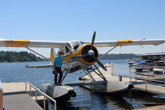Beaver N77MV after our water landing at Kenmore Air Harbor. Photo by Garrett Caldwell.