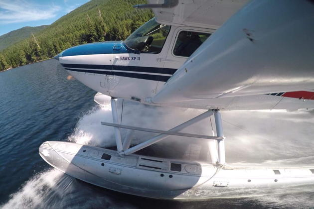 GoPro view of our water landing at Calligan Lake in the Cascade foothills in the BEFA Cessna 172 floatplane. Photo by James Polivka.