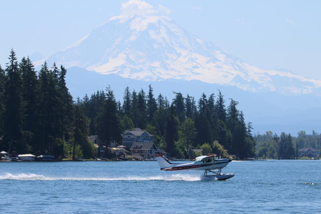 Floatplane operations on Lake Tapps in the BEFA 172 floatplane with Mt. Rainier looming in the distance.