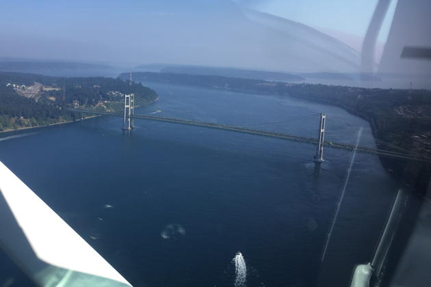 Approaching the Tacoma Narrows bridge in Chris Marshall's Cessna 150. Photo by Chris Marshall.
