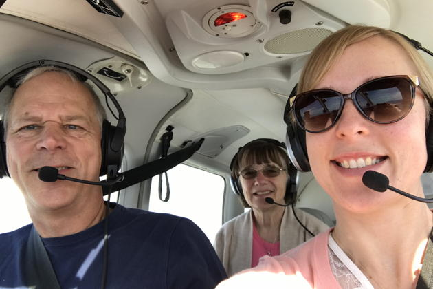 In-flight over central California with Ma and T in 3DC. Photo by Theresa Seitel.