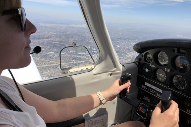 Theresa flying as pilot-in-command in 3DC as we approach our LAX flyover en route to Torrance.